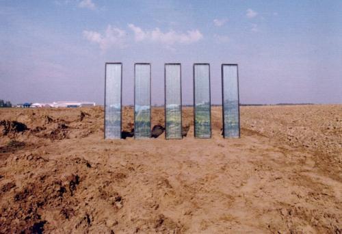 Installatie Landschap Languedoc, hout, glas, fotografie, 100 x 150 x 2 cm