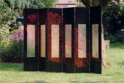 Kamerscherm, 6 panelen, glas, hardboard, koperfolie, 160 x 36 x 1 cm
