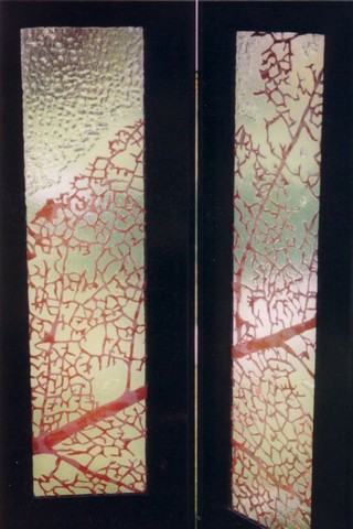 Kamerscherm, detail, 6 panelen, glas, hardboard, koperfolie, 160 x 36 x 1 cm